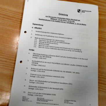 Sitzungsunterlagen der Ortsbeiratssitzung am 18. September 2019